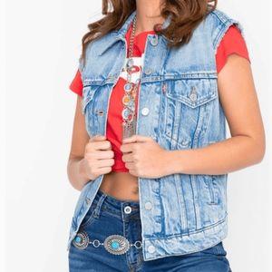Levi's Ex-Boyfriend Medium Wash Trucker Denim Vest